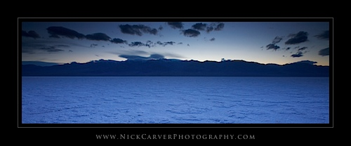 Badwater Basin Salt Flats in Death Valley National Park at Twilight