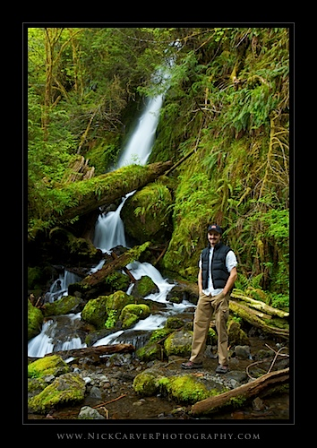 Self-portrait in front of Merriman Falls - Olympic National Forest, WA